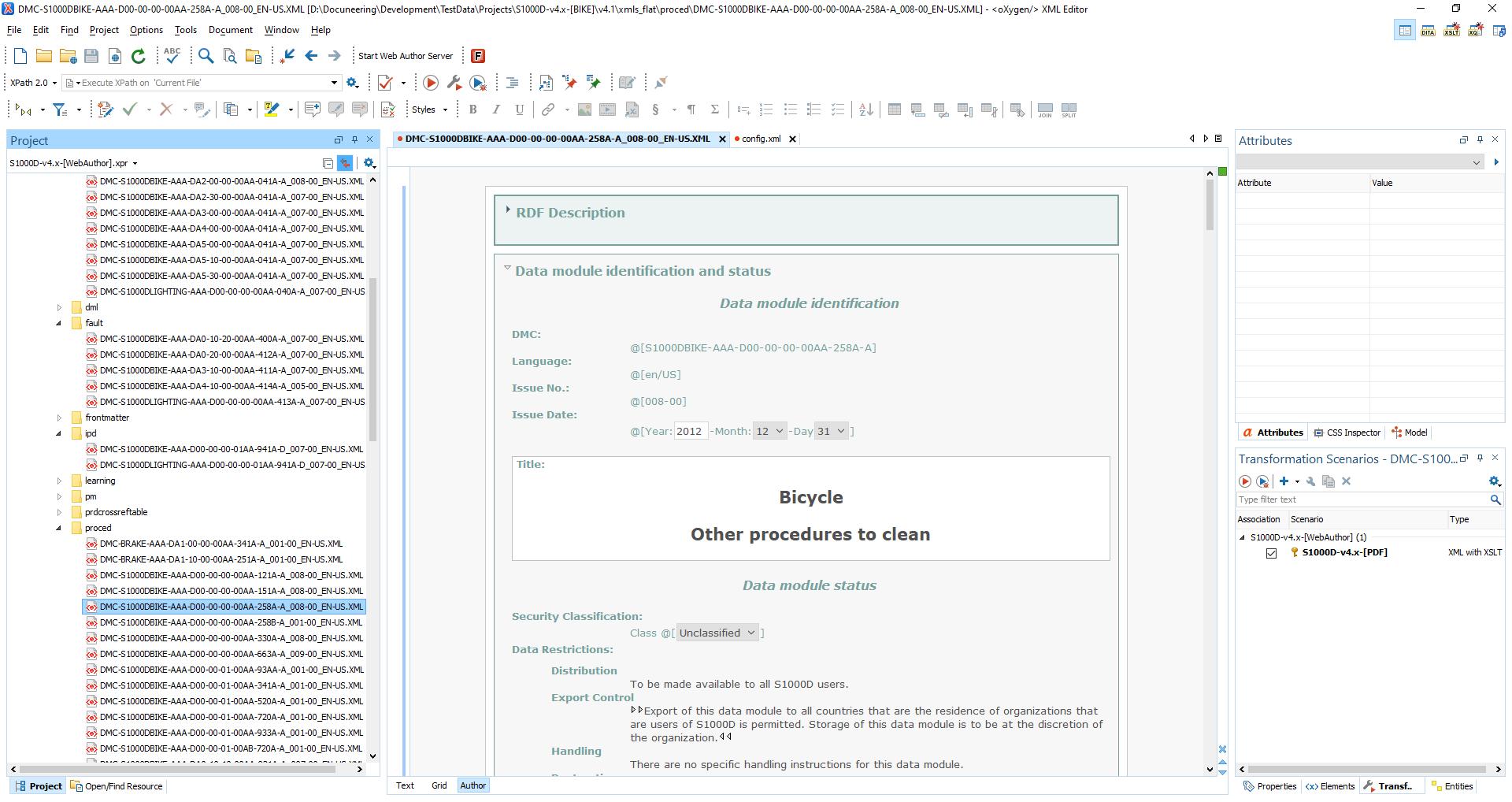Docuneering S1000D Authoring in Oxygen XML - Metadata