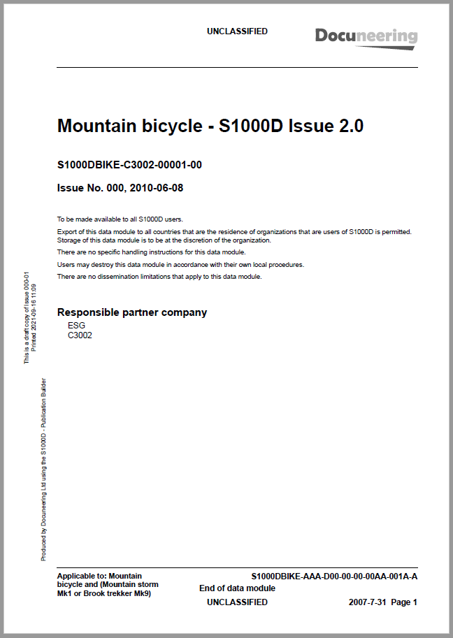 S1000D Issue 2.0 Demo Publication - Demo Publication Modules - Mountain bicycle manual