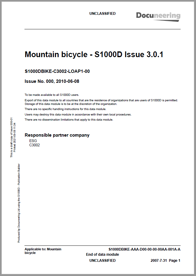 S1000D Issue 3.0.1 Demo Publication - Demo Publication Modules - Mountain bicycle manual