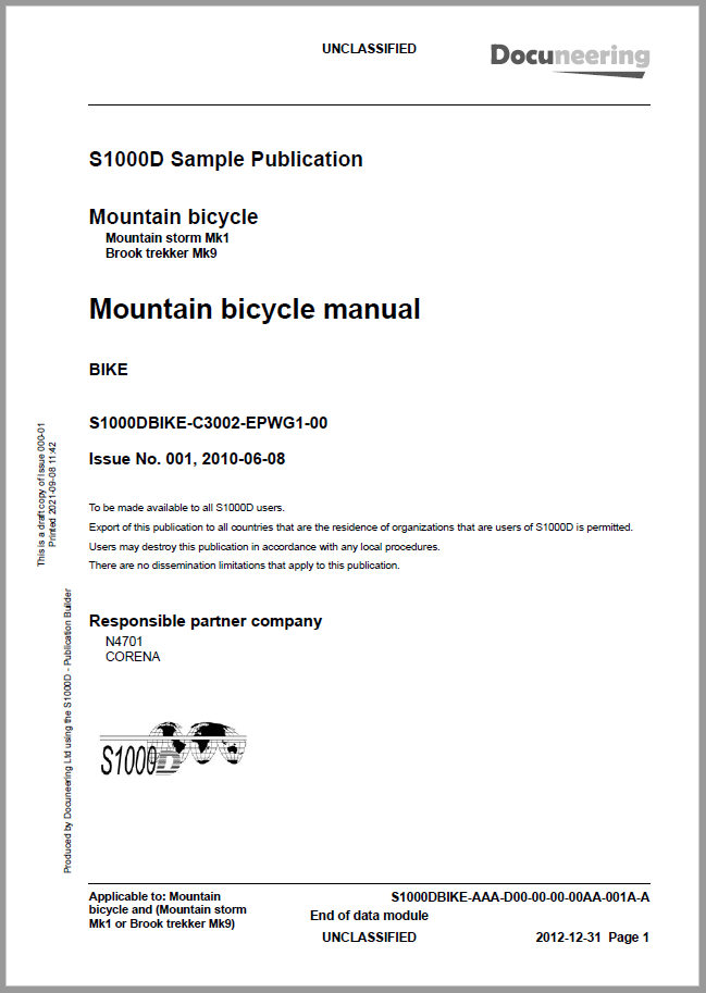 S1000D Issue 4.1 Demo Publication - Demo Publication Modules - Mountain bicycle manual