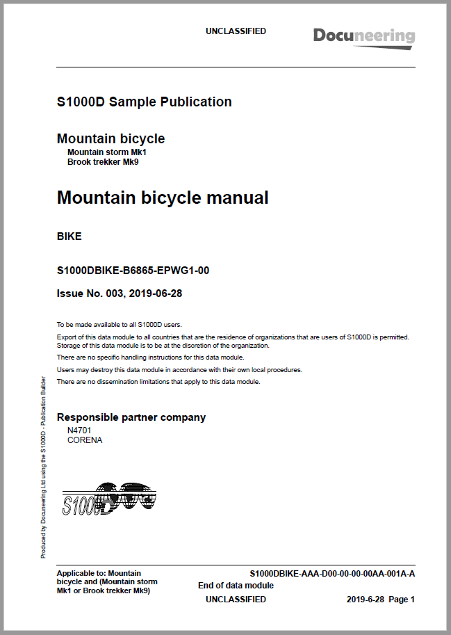 S1000D Issue 5.0 Demo Publication - Demo Publication Modules - Mountain bicycle manual